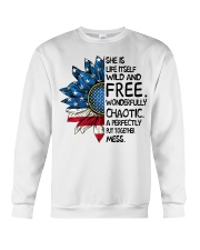 She Is Life Itself American Flag Sunflower Crewneck Sweatshirt thumbnail
