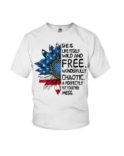 She Is Life Itself American Flag Sunflower Youth T-Shirt thumbnail