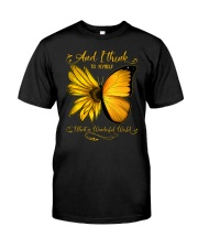 What A Wonderful World Sunflower Butterfly Classic T-Shirt front