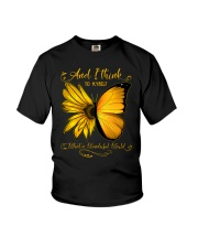 What A Wonderful World Sunflower Butterfly Youth T-Shirt thumbnail
