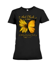 What A Wonderful World Sunflower Butterfly Premium Fit Ladies Tee thumbnail