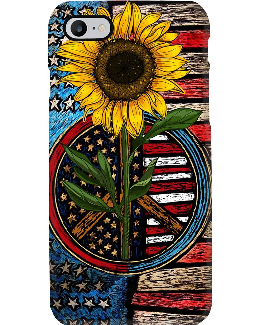 American Flag Sunflower Peace Phone Case