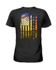 Sunflower Amrican Flag 4th July Back Ladies T-Shirt thumbnail