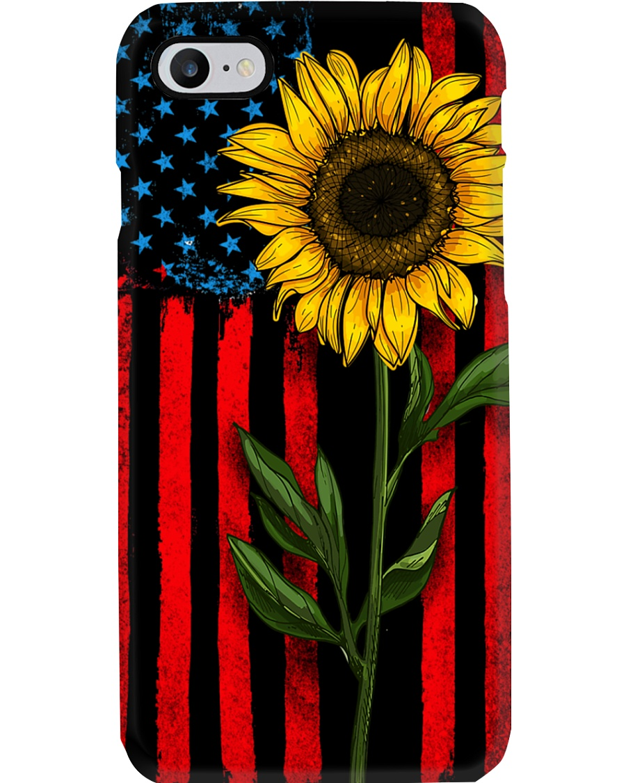American Flag Sunflower Phone Case