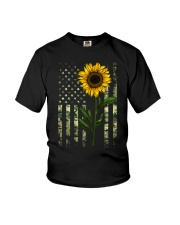 American Flag Camo Pattern Sunflower Youth T-Shirt thumbnail