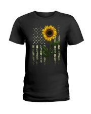 American Flag Camo Pattern Sunflower Ladies T-Shirt thumbnail