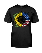 Sunflower American Flag Classic T-Shirt front