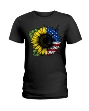 Sunflower American Flag Ladies T-Shirt thumbnail