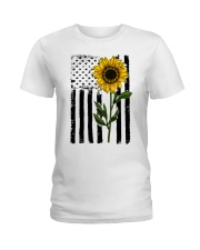 Betsy Ross American Flag Sunflower Ladies T-Shirt thumbnail