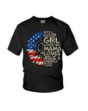 She's A Good Girl American Flag Sunflower Youth T-Shirt thumbnail