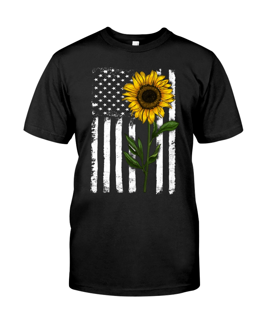 American Flag Sunflower Hippie Distressed No2 Classic T-Shirt