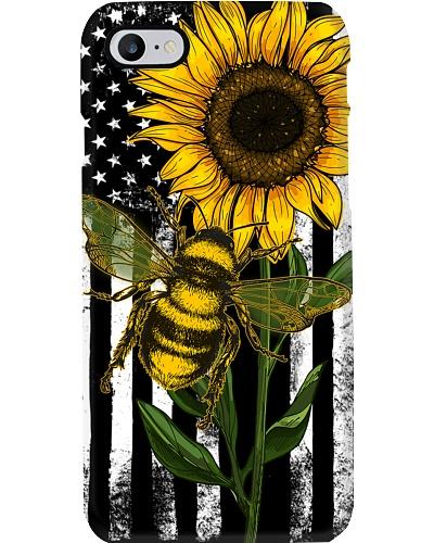 American Flag Sunflower Bee