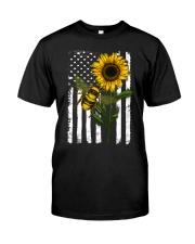 American Flag Sunflower Bee Classic T-Shirt thumbnail