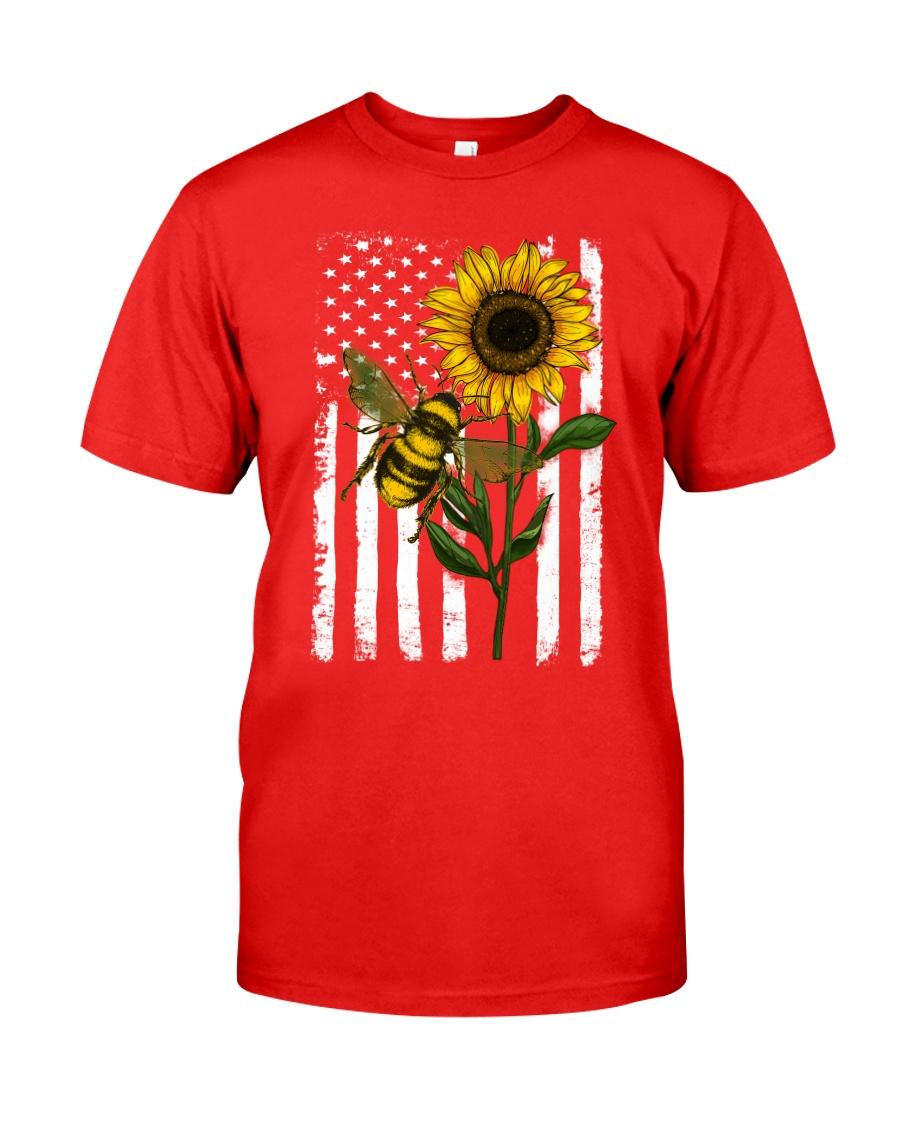 American Flag Sunflower Bee Classic T-Shirt