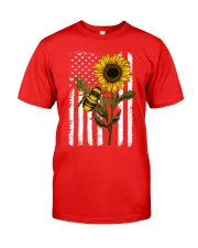 American Flag Sunflower Bee Classic T-Shirt front