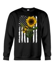 American Flag Sunflower Bee Crewneck Sweatshirt thumbnail
