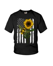 American Flag Sunflower Bee Youth T-Shirt thumbnail