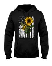 American Flag Sunflower Bee Hooded Sweatshirt thumbnail