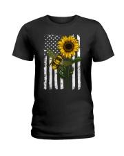 American Flag Sunflower Bee Ladies T-Shirt thumbnail