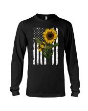 American Flag Sunflower Bee Long Sleeve Tee thumbnail