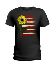 Sunflower USA Grunge Flag Ladies T-Shirt tile