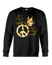 What A Wonderful World Butterfly Sunflower Crewneck Sweatshirt thumbnail