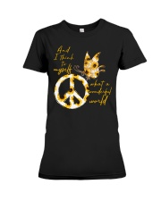 What A Wonderful World Butterfly Sunflower Premium Fit Ladies Tee thumbnail