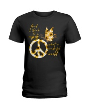 What A Wonderful World Butterfly Sunflower Ladies T-Shirt thumbnail