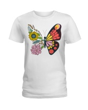 Flowers Butterfly Ladies T-Shirt thumbnail