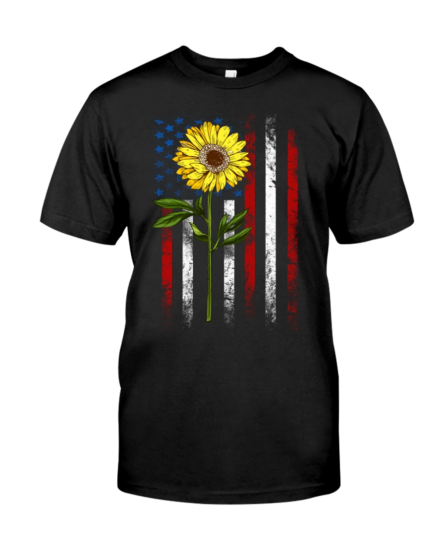 American Flag Sunflower Blue Star Red Line Classic T-Shirt
