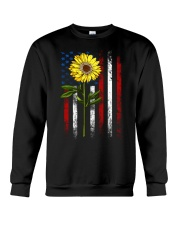 American Flag Sunflower Blue Star Red Line Crewneck Sweatshirt thumbnail