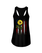American Flag Sunflower Blue Star Red Line Ladies Flowy Tank thumbnail