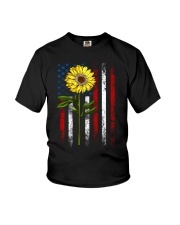 American Flag Sunflower Blue Star Red Line Youth T-Shirt thumbnail
