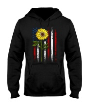 American Flag Sunflower Blue Star Red Line Hooded Sweatshirt thumbnail