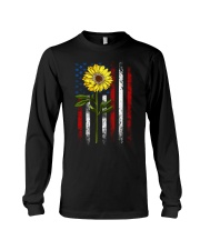 American Flag Sunflower Blue Star Red Line Long Sleeve Tee thumbnail