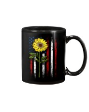 American Flag Sunflower Blue Star Red Line Mug thumbnail