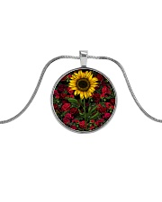Sunflower And Roses Metallic Circle Necklace thumbnail
