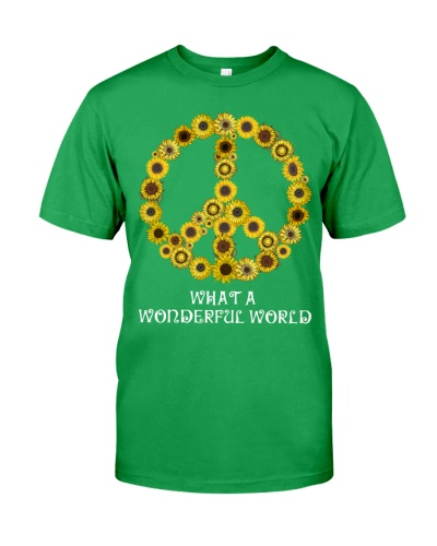 What A Wonderful World Sunflower Peace Sign