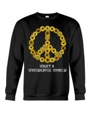 What A Wonderful World Sunflower Peace Sign Crewneck Sweatshirt thumbnail
