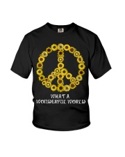 What A Wonderful World Sunflower Peace Sign Youth T-Shirt thumbnail