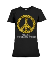 What A Wonderful World Sunflower Peace Sign Premium Fit Ladies Tee thumbnail