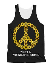What A Wonderful World Sunflower Peace Sign All-over Unisex Tank thumbnail