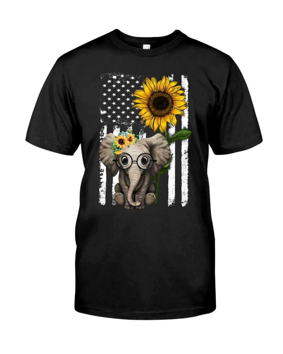 American Flag Sunflower Elephant Classic T-Shirt