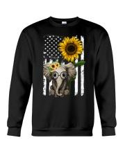 American Flag Sunflower Elephant Crewneck Sweatshirt thumbnail