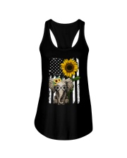 American Flag Sunflower Elephant Ladies Flowy Tank thumbnail