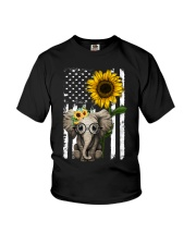 American Flag Sunflower Elephant Youth T-Shirt thumbnail