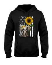 American Flag Sunflower Elephant Hooded Sweatshirt thumbnail