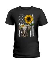 American Flag Sunflower Elephant Ladies T-Shirt thumbnail