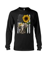 American Flag Sunflower Elephant Long Sleeve Tee thumbnail