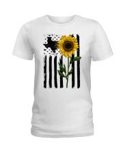 American Flag Sunflower Texas Ladies T-Shirt thumbnail